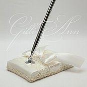 Свадебный салон ручной работы. Ярмарка Мастеров - ручная работа Свадебная ручка с подставкой  Lace Ivory Leaf. Handmade.