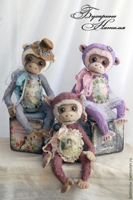 Мишки Тедди ручной работы. Ярмарка Мастеров - ручная работа. Купить Тедди Обезьянки Три подружки. Handmade. Разноцветный