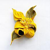 """Украшения ручной работы. Ярмарка Мастеров - ручная работа Брошь из кожи цветок орхидея """"Sunlight"""" желтая с тычинками. Handmade."""