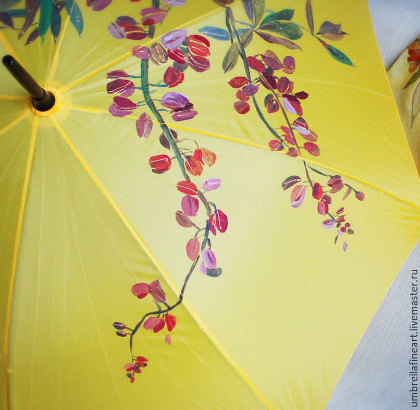 Cane umbrella bright yellow with painted roses and lupins, Umbrellas, St. Petersburg,  Фото №1