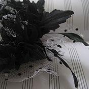 Украшения ручной работы. Ярмарка Мастеров - ручная работа Черно-белая фатиновая хризантема. Handmade.