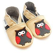 Работы для детей, handmade. Livemaster - original item Baby moccasins beige,Ebooba,Owl baby shoes,Soft sole leather shoes. Handmade.