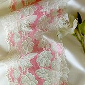 Lace handmade. Livemaster - original item Wide stretch pink lace with beige flowers