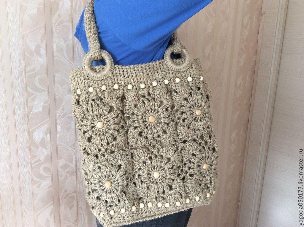 Jute Bag Knitted Motifs Shop Online On Livemaster With