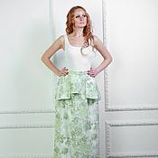 Одежда ручной работы. Ярмарка Мастеров - ручная работа Длинная юбка с эффектной баской джинс, хлопок 100%. Handmade.