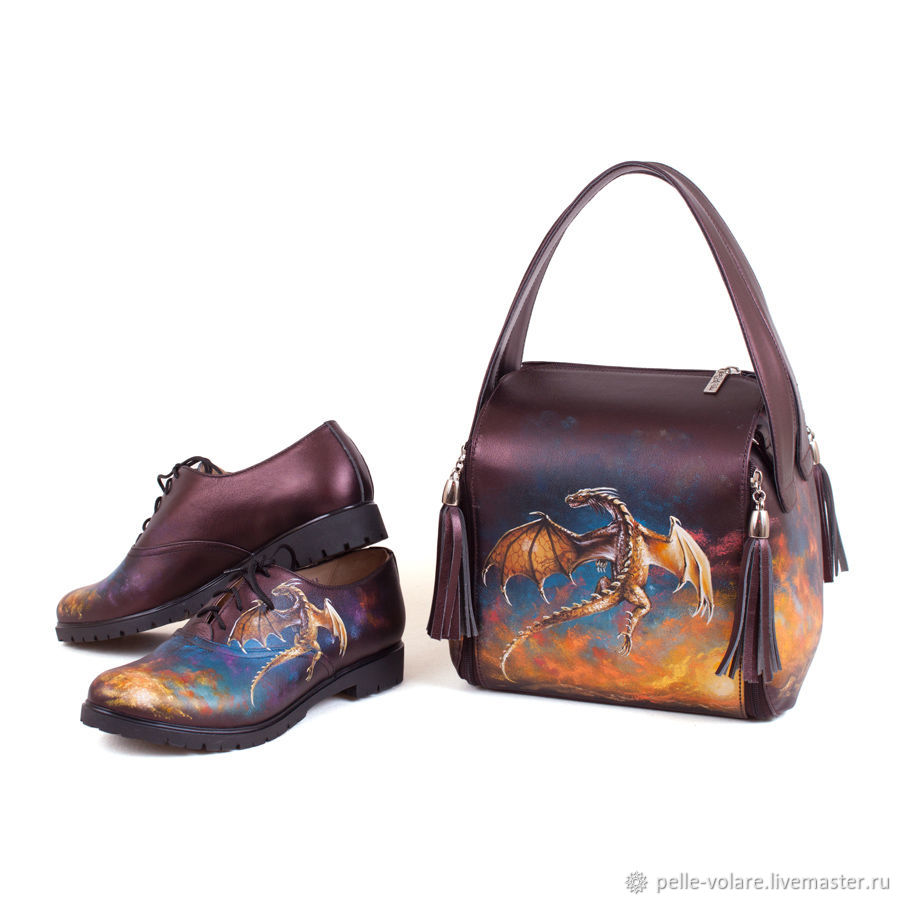 Set leather handbag and shoes 'Daenerys', Boots, St. Petersburg,  Фото №1