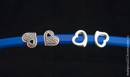 Для украшений ручной работы. Ярмарка Мастеров - ручная работа. Купить Бусины 10х5 сердечко и  сердечко контур. Handmade. Серебряный
