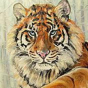 Картины и панно ручной работы. Ярмарка Мастеров - ручная работа Зимний тигр. Handmade.