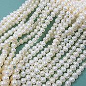 Материалы для творчества handmade. Livemaster - original item Thread 18 cm Natural pearls. 3,5-4 mm white (4250). Handmade.