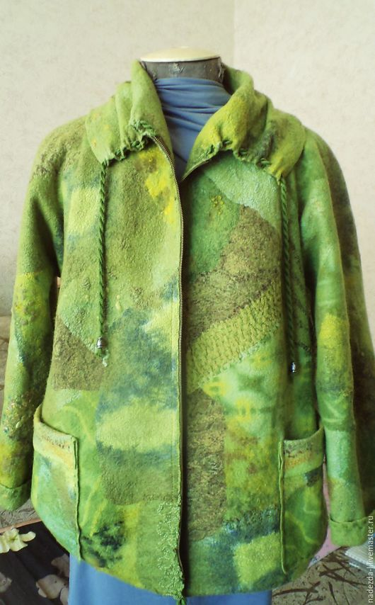 """Верхняя одежда ручной работы. Ярмарка Мастеров - ручная работа. Купить Куртка валяная """" Green noise....!!"""". Handmade."""