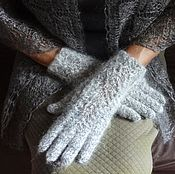 Аксессуары handmade. Livemaster - original item 327, Gloves down women`s Light grey knit. Handmade.
