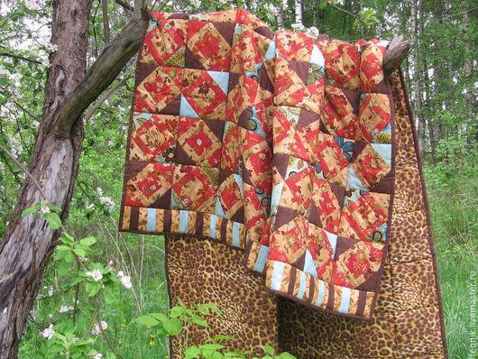 """Текстиль, ковры ручной работы. Ярмарка Мастеров - ручная работа. Купить Лоскутное одеяло """"Сафари"""". Handmade. Одеяло пэчворк, красный"""