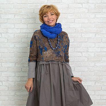 "Одежда ручной работы. Ярмарка Мастеров - ручная работа Валяный бохо- топ "" Brown&blue"". Handmade."