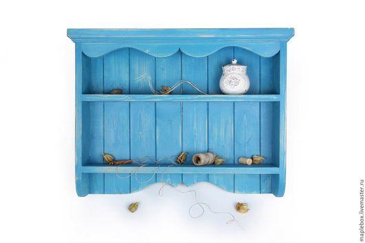 """Мебель ручной работы. Ярмарка Мастеров - ручная работа. Купить Полка """"Прованс"""" №4. Handmade. Голубой, полка для кухни, дерево"""