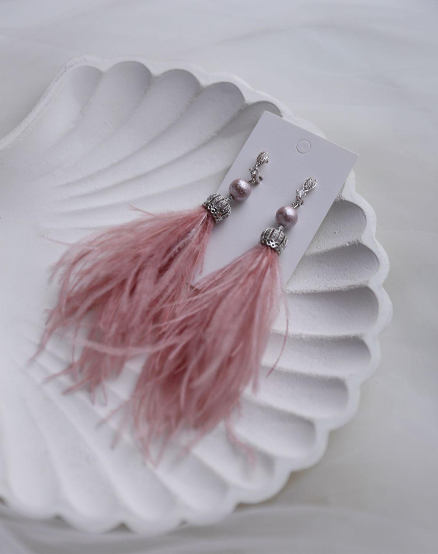 Pink ostrich feather earrings, delicate long earrings, Earrings, St. Petersburg,  Фото №1