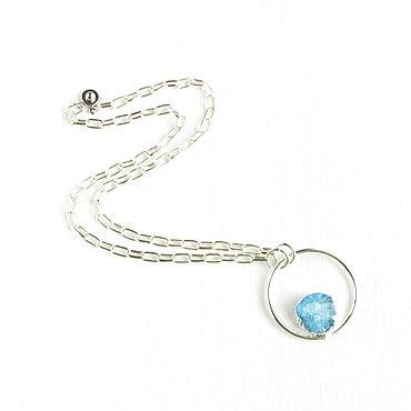 Decorations handmade. Livemaster - original item Blue pendant with quartz