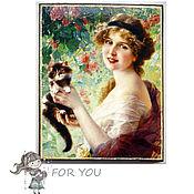 Картины и панно ручной работы. Ярмарка Мастеров - ручная работа Девушка с котёнком Панно интерьерное. Handmade.