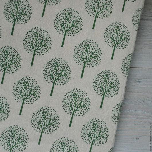 Лен Осенние Деревья зеленые, 50х50см, 3011