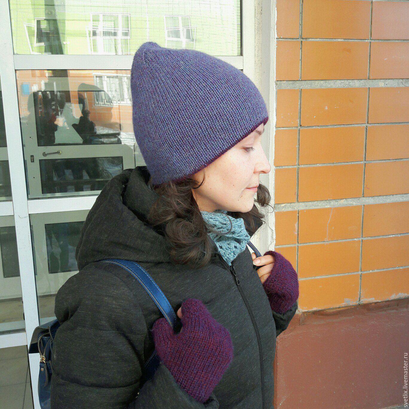 Вязанные теплые двойные шапки спицами 156