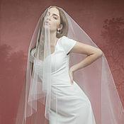 Свадебный салон ручной работы. Ярмарка Мастеров - ручная работа Свадебная фата с перекидной вуалью, длинная свадебная фата со шлейфом. Handmade.