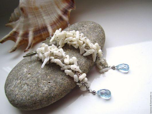 """Серьги ручной работы. Ярмарка Мастеров - ручная работа. Купить Серьги """"Капля моря"""" серебро, коралл, топаз. Handmade. Голубой"""