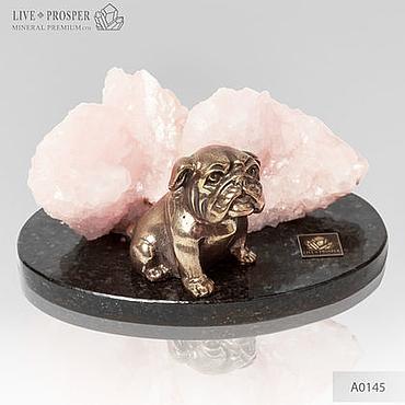 Для дома и интерьера ручной работы. Ярмарка Мастеров - ручная работа Бронзовая собака породы Бульдог с розовым кальцитом. Handmade.