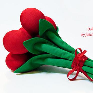 Куклы и игрушки ручной работы. Ярмарка Мастеров - ручная работа Букет текстильных тюльпанов. Handmade.