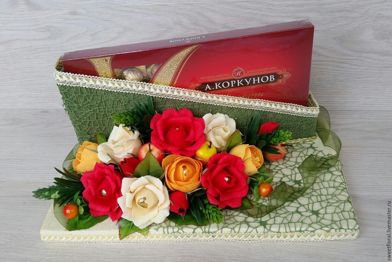 Как оформить подарок с конфетами в коробке 965