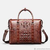 Сумки и аксессуары handmade. Livemaster - original item Bag-briefcase made of embossed crocodile skin, in brown. Handmade.