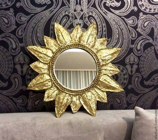 """Зеркала ручной работы. Ярмарка Мастеров - ручная работа. Купить Зеркало солнце """"Листопад"""". Handmade. Золотой, состаренное зеркало"""