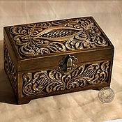 Для дома и интерьера ручной работы. Ярмарка Мастеров - ручная работа Шкатулка деревянная резная с застежкой. Handmade.