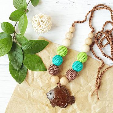 Одежда ручной работы. Ярмарка Мастеров - ручная работа Слингобусы с кокосовой рыбкой коричнево-зеленые. Handmade.