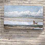 Картины и панно ручной работы. Ярмарка Мастеров - ручная работа картина акрилом Отмель (голубой, серый, лофт, лодка, вода). Handmade.