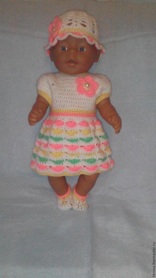 Детские аксессуары ручной работы. Ярмарка Мастеров - ручная работа. Купить Вязаный комплект для куклы Беби Бон и других кукол 43 см.. Handmade.