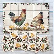 Картины и панно handmade. Livemaster - original item Apron for kitchen tiles Painted Rooster, chicken and corn. Handmade.