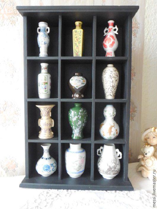 Винтажные предметы интерьера. Ярмарка Мастеров - ручная работа. Купить Коллекция миниатюр, шкафчик, 12 ваз, Япония, винтаж. Handmade.