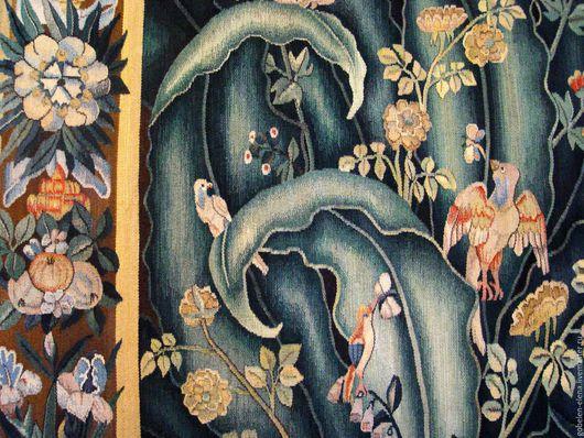 """Текстиль, ковры ручной работы. Ярмарка Мастеров - ручная работа. Купить Гобелен-вердюра """"Цветы и птицы"""". Handmade. Комбинированный, птицы"""