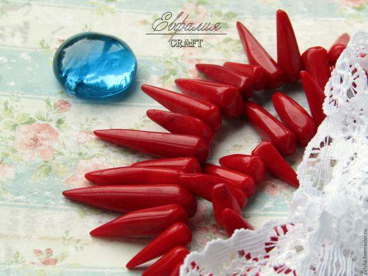 Для украшений ручной работы. Ярмарка Мастеров - ручная работа. Купить Коралл натуральный красный зубчики перчик бусины. Handmade.