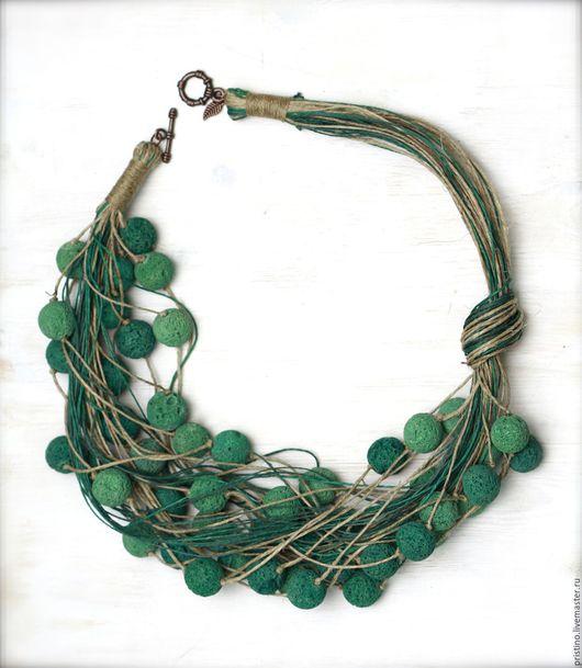 """Колье, бусы ручной работы. Ярмарка Мастеров - ручная работа. Купить Льняное колье """"Emerald"""". Handmade. Морская волна"""
