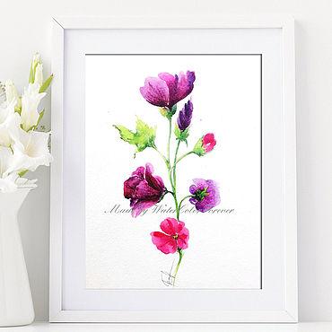 Картины и панно ручной работы. Ярмарка Мастеров - ручная работа Акварель Пурпурная петуния. Handmade.