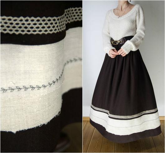 Юбки ручной работы. Ярмарка Мастеров - ручная работа. Купить Шерстяная юбка в пол. Handmade. Коричневый, зимняя юбка, кружево