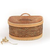 Для дома и интерьера handmade. Livemaster - original item Bread box made of birch bark semicircular