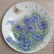 Посуда handmade. Livemaster - original item Saucer with cornflowers ( porcelain ). Handmade.