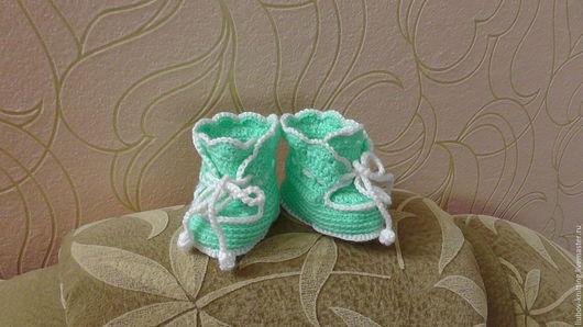 Детская обувь ручной работы. Ярмарка Мастеров - ручная работа. Купить Пинетки детские. Handmade. Салатовый, пинетки в подарок, акрил