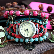 Украшения handmade. Livemaster - original item Boho watch with stones, stylish, velvet