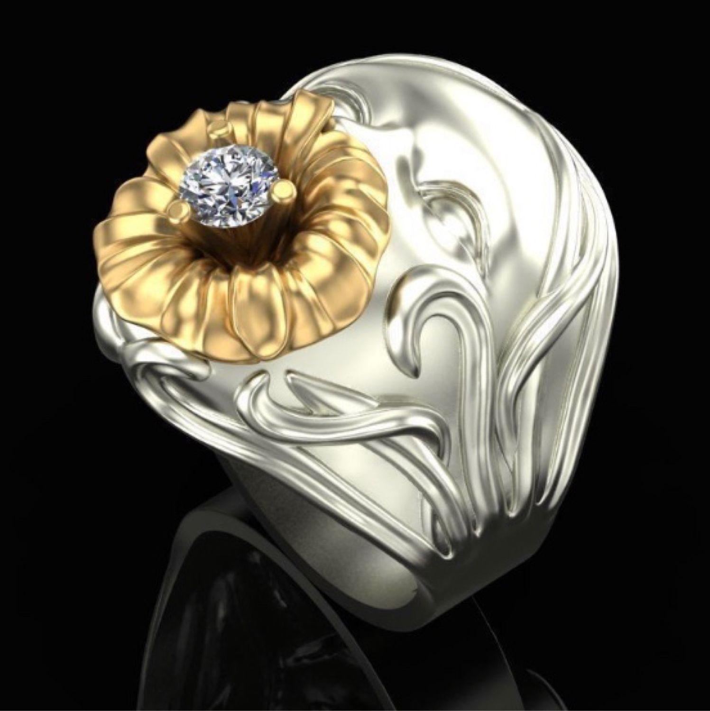 "Кольцо «Kiss flowers"" из серебра, Кольца, Москва,  Фото №1"