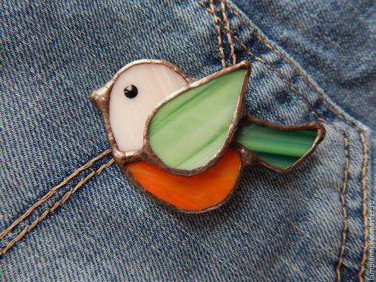 """Броши ручной работы. Ярмарка Мастеров - ручная работа. Купить Брошь """"Пташка"""" мандаринка. Handmade. Брошь, птица, оранжевый, тиффани"""