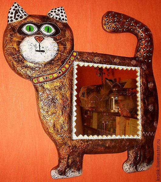 """Зеркала ручной работы. Ярмарка Мастеров - ручная работа. Купить Зеркало""""Кот"""".. Handmade. Золотой, кошачий, зеркало ручной работы"""