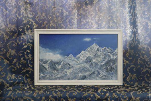 Пейзаж ручной работы. Ярмарка Мастеров - ручная работа. Купить Гималаи. Handmade. Синий, вершины, облака, горные хребты, холст