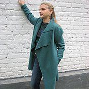 Одежда ручной работы. Ярмарка Мастеров - ручная работа Легкое пальто из лодена - Темная мята. Handmade.